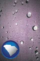 sc map icon and water droplets on a shower door