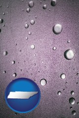tn map icon and water droplets on a shower door