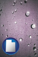 ut map icon and water droplets on a shower door