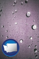 wa map icon and water droplets on a shower door