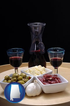 tapas and red wine - with Alabama icon