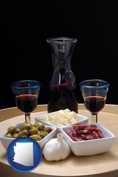 tapas and red wine - with Arizona icon