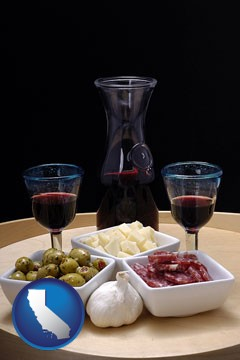 tapas and red wine - with California icon