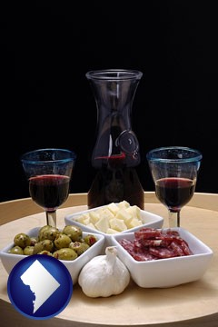 tapas and red wine - with Washington, DC icon