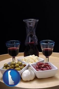 tapas and red wine - with Delaware icon