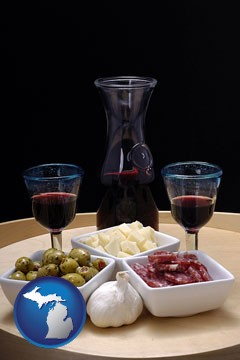 tapas and red wine - with Michigan icon