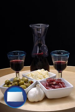 tapas and red wine - with North Dakota icon