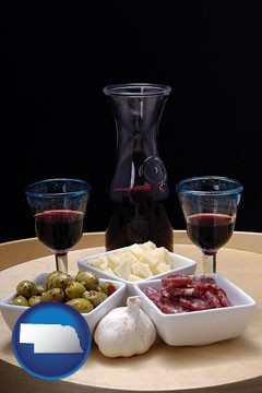 tapas and red wine - with Nebraska icon