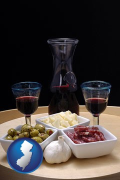 tapas and red wine - with New Jersey icon