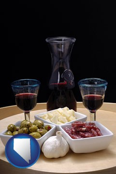 tapas and red wine - with Nevada icon