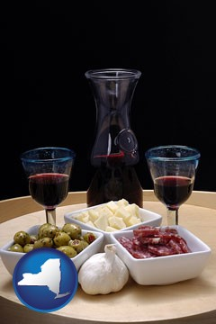 tapas and red wine - with New York icon