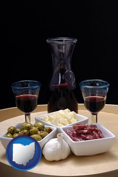 tapas and red wine - with Ohio icon