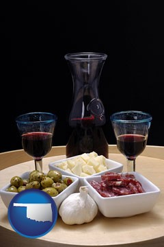 tapas and red wine - with Oklahoma icon