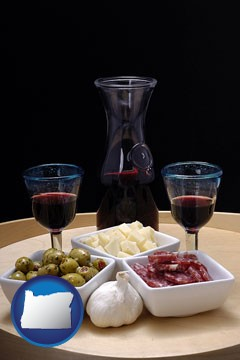 tapas and red wine - with Oregon icon