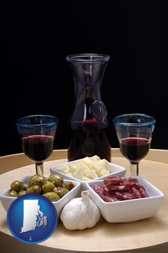 tapas and red wine - with Rhode Island icon
