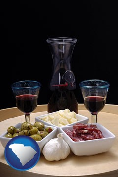 tapas and red wine - with South Carolina icon