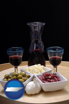 tapas and red wine - with Tennessee icon