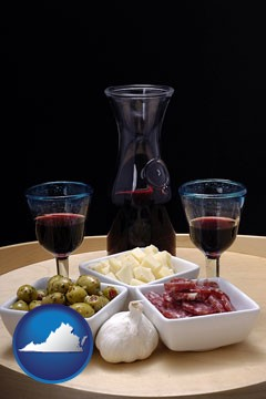 tapas and red wine - with Virginia icon
