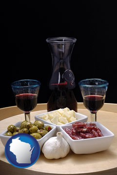 tapas and red wine - with Wisconsin icon