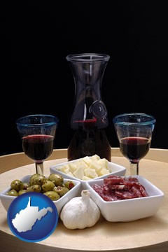 tapas and red wine - with West Virginia icon