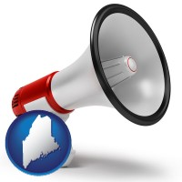 maine map icon and a megaphone