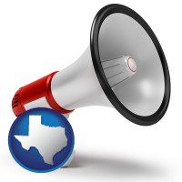 texas map icon and a megaphone