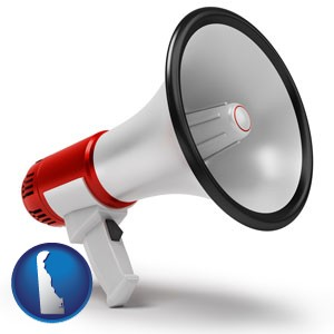 a megaphone - with Delaware icon