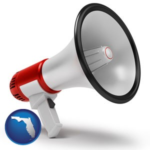 a megaphone - with Florida icon