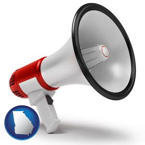 a megaphone - with Georgia icon