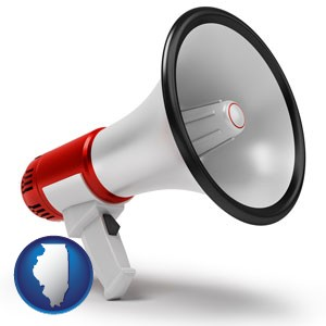 a megaphone - with Illinois icon
