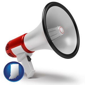 a megaphone - with Indiana icon