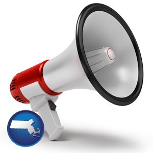 a megaphone - with Massachusetts icon