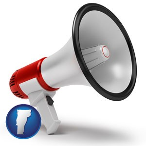 a megaphone - with Vermont icon