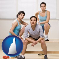 new-hampshire map icon and three athletes wearing sportswear