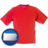 pa map icon and a red t-shirt