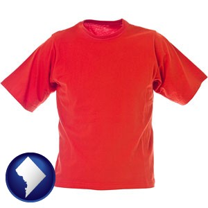 a red t-shirt - with Washington, DC icon