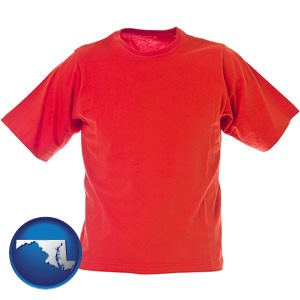 a red t-shirt - with Maryland icon