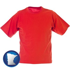 a red t-shirt - with Minnesota icon