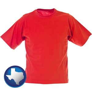a red t-shirt - with Texas icon