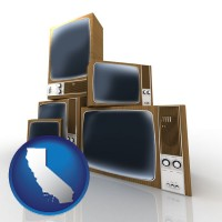 california map icon and vintage televisions