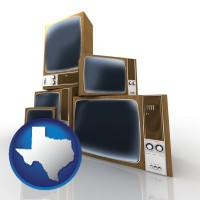 texas map icon and vintage televisions