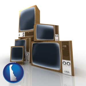 vintage televisions - with Delaware icon