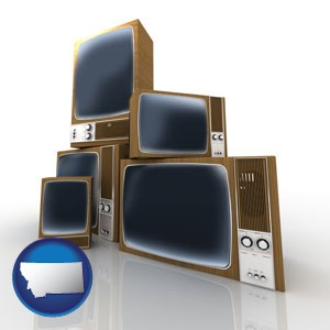 vintage televisions - with Montana icon