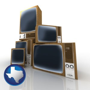 vintage televisions - with Texas icon