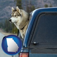 georgia map icon and a truck cap and a Siberian husky