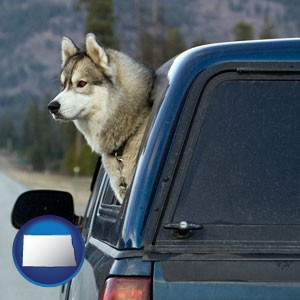 a truck cap and a Siberian husky - with North Dakota icon
