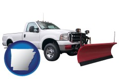 arkansas map icon and a pickup truck snowplow accessory