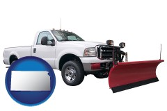 kansas map icon and a pickup truck snowplow accessory