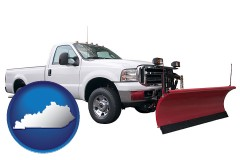 kentucky map icon and a pickup truck snowplow accessory