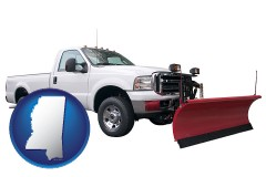 mississippi map icon and a pickup truck snowplow accessory